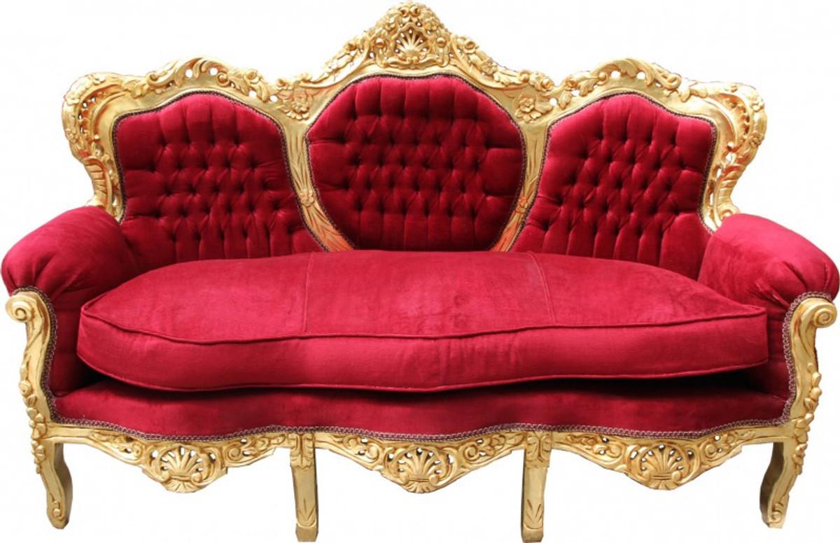 Casa Padrino Barock Sofa King Bordeaux Rot Gold Mod2 Mobel