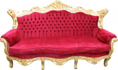 casa padrino barock sofa master bordeaux rot / gold mod2 ... - Wohnzimmer Rot Gold