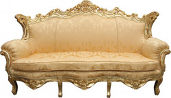 Casa Padrino Baroque sofa Master Gold Flowers Pattern / Gold - living room couch furniture Lounge