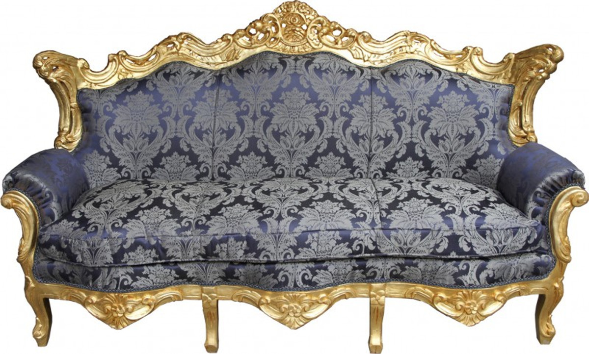 Casa padrino baroque sofa master royal blue pattern gold for Barock sofa weiay