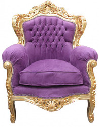 "Casa Padrino Baroque Armchair ""King"" Mod 2 Purple / Gold antique style furniture"
