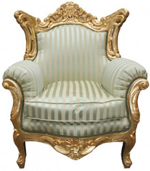 "Casa Padrino Baroque Armchair ""Al Capone"" Mod 2 Jade Green / Beige / Gold antique style furniture"