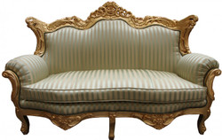 Casa Padrino Baroque master 2 seater jade-green/beige / gold - living room couch furniture Lounge