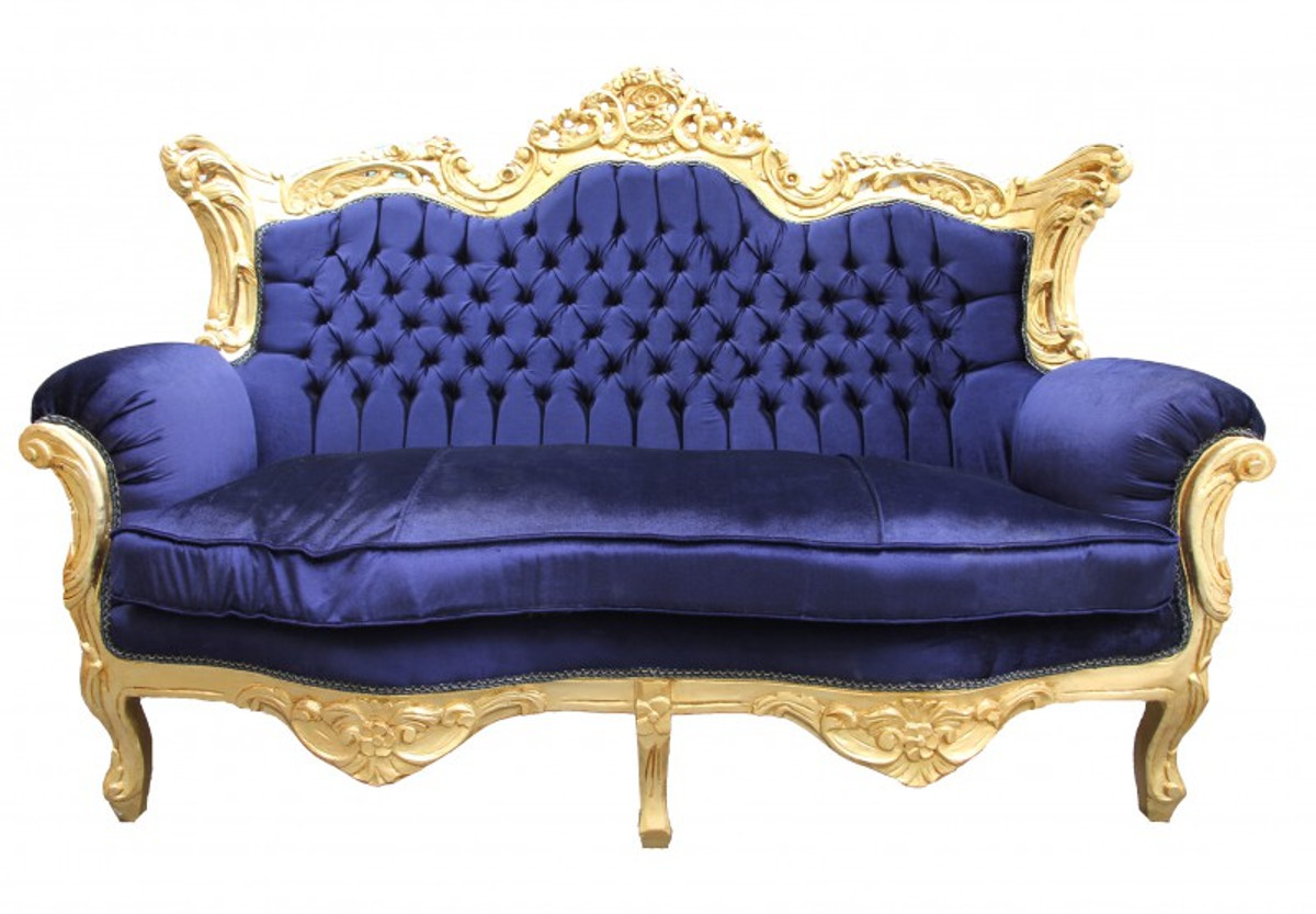 Casa Padrino Baroque Master 2 Seater Royal Blue Gold 2mod Living Room Couch Furniture Lounge Sofas