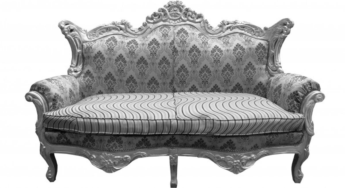 casa padrino barock 2er sofa master silber muster silber mod2 wohnzimmer couch m bel lounge. Black Bedroom Furniture Sets. Home Design Ideas