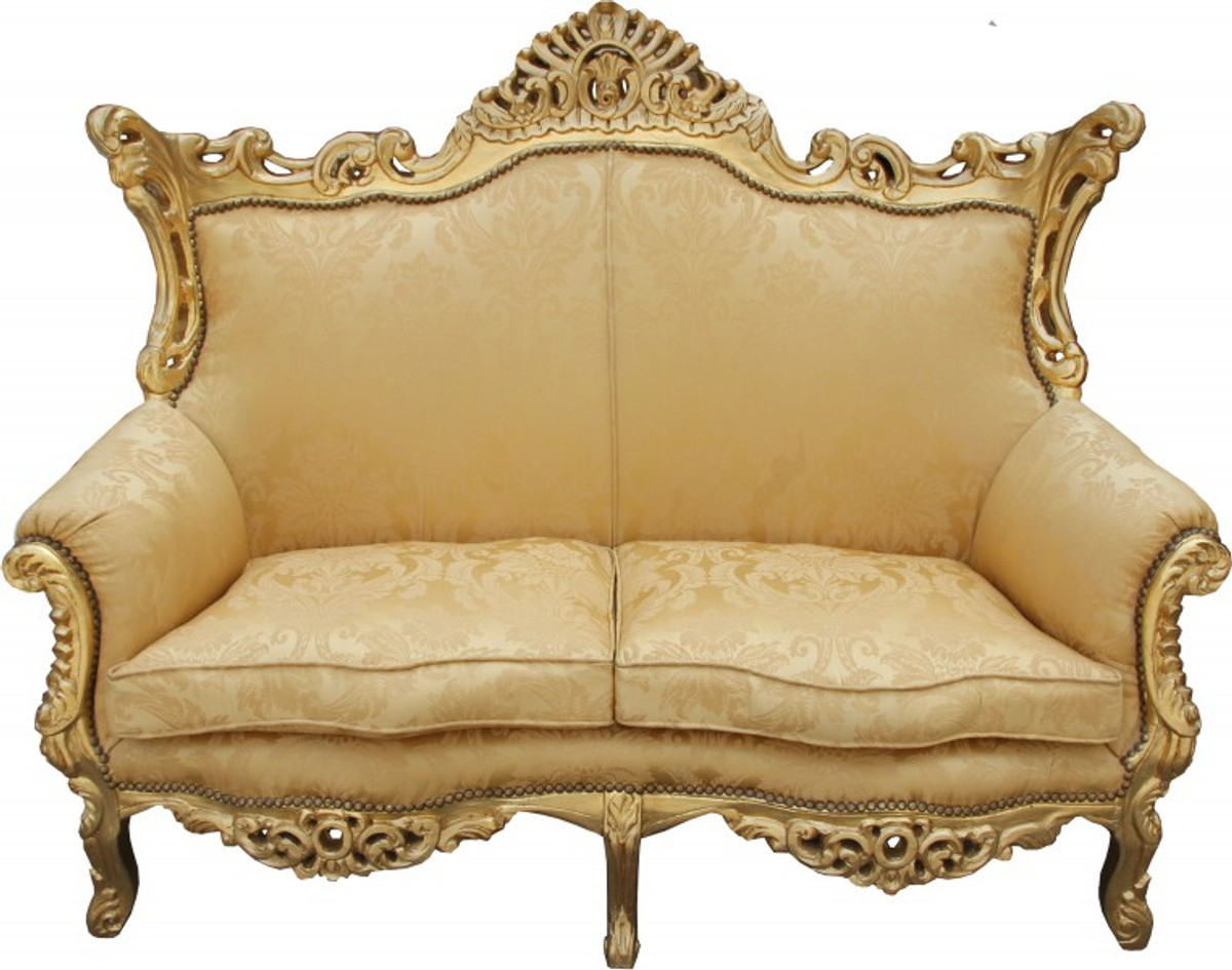 casa padrino barock 2er sofa master gold blumen muster gold 2mod wohnzimmer couch m bel. Black Bedroom Furniture Sets. Home Design Ideas