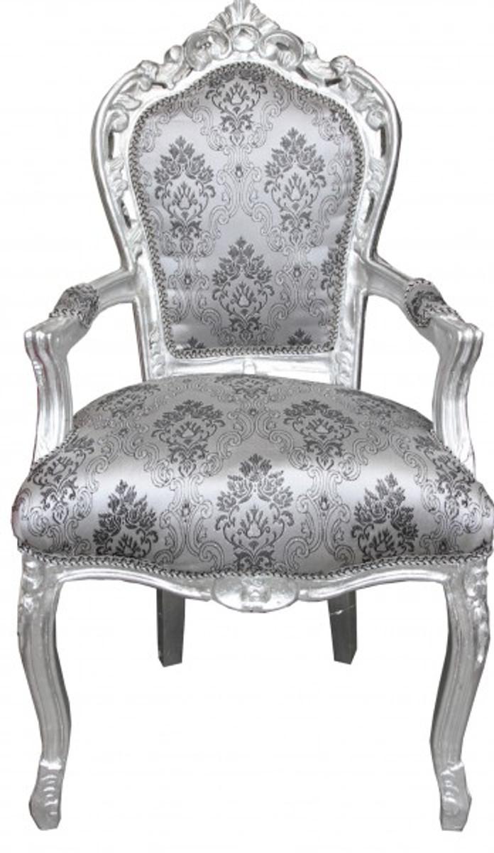 Casa Padrino Barock Esszimmer Stuhl Grau Muster Silber Ohne