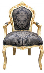 Casa Padrino baroque dining room chair black pattern / gold with armrests