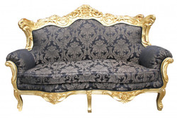 Casa Padrino Baroque master 2 seater Black pattern / Gold 2Mod - living room couch furniture Lounge