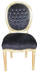 Casa Padrino Baroque Dinner Chair Black / Gold Round with Bling Bling Stones Mod2