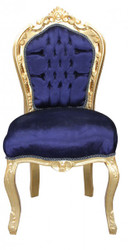 Casa Padrino Baroque dining room chair Royal Blue / Gold without armrests Mod2