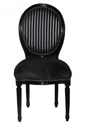 Casa Padrino Baroque Dinner Chair Black / Black / Grey Stripe Mod 2 / Round