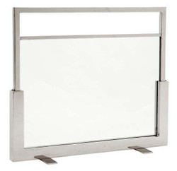 Casa Padrino luxury fireplace fire screen stand - glass / stainless steel plated - pure luxury!