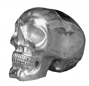 Casa Padrino Designer Skull Mod1L silver Height 16.5 cm, width 14 cm, depth 18 cm, skull - noble sculpture made of nickel-plated aluminum – Bild 1