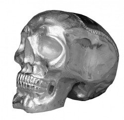 Casa Padrino Designer Skull Mod1L silver Height 16.5 cm, width 14 cm, depth 18 cm, skull - noble sculpture made of nickel-plated aluminum