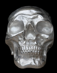 Casa Padrino Designer Skull Mod1L silver Height 16.5 cm, width 14 cm, depth 18 cm, skull - noble sculpture made of nickel-plated aluminum – Bild 3