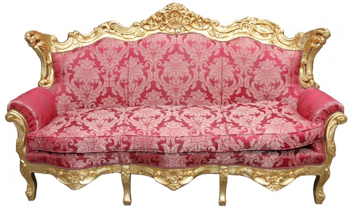 Casa Padrino Baroque Living Room Set Bordeaux pattern / Gold - 3 ...