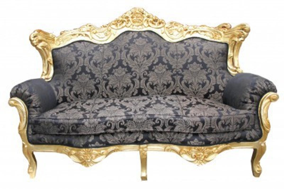 casa padrino barock wohnzimmer set schwarz muster gold 3er sofa 2er sofa 1 sessel casa. Black Bedroom Furniture Sets. Home Design Ideas