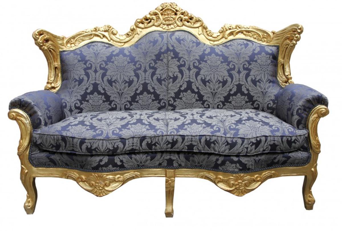 Casa Padrino Barock Wohnzimmer Set Royal Blau Muster/ Gold   3er Sofa+2er  Sofa