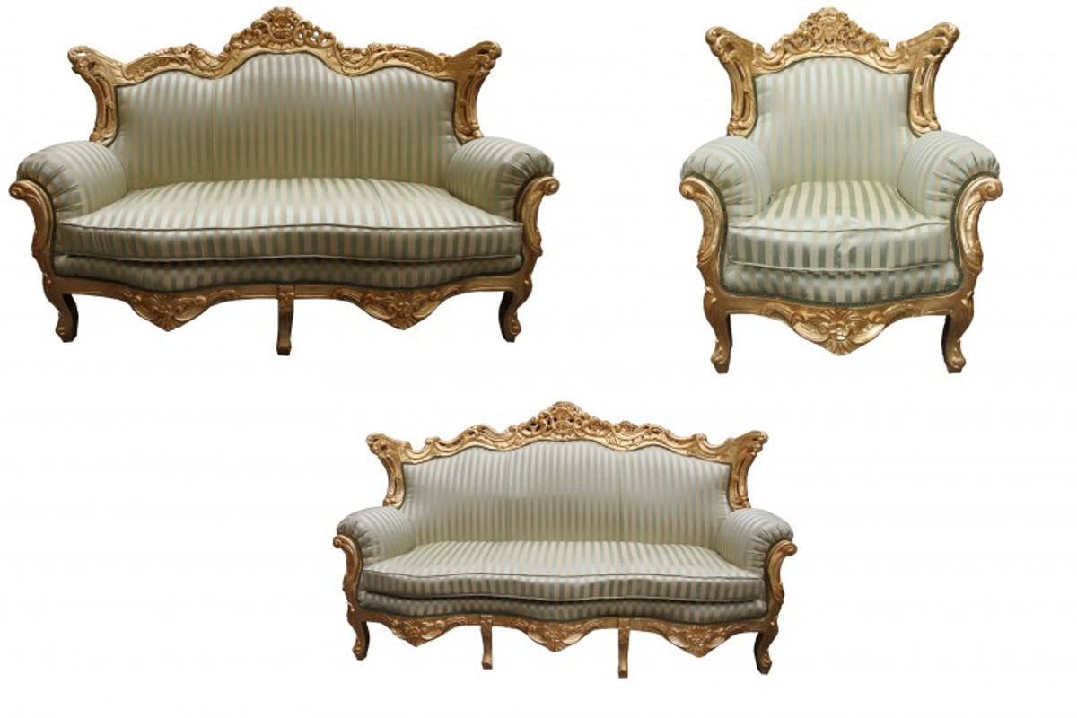 casa padrino barock wohnzimmer set jadegr n gold 3er sofa 2er sofa 1 sessel casa padrino. Black Bedroom Furniture Sets. Home Design Ideas
