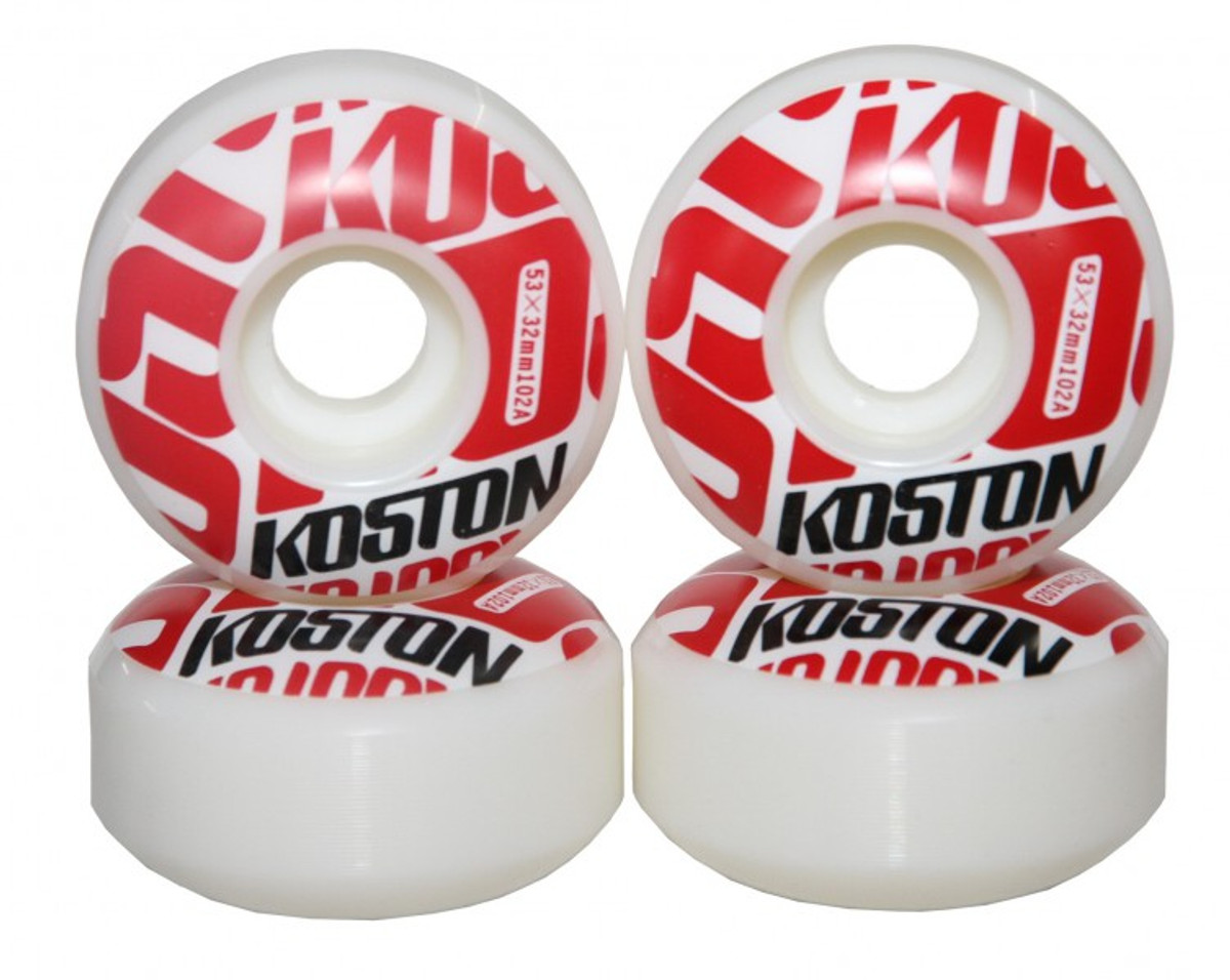 koston profi skateboard rollen set 53mm white red logo. Black Bedroom Furniture Sets. Home Design Ideas
