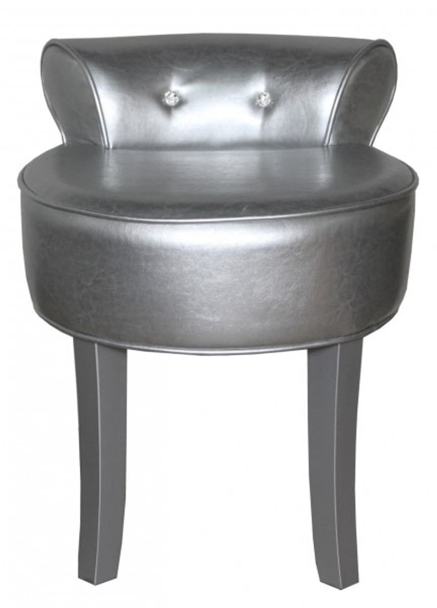 Casa Padrino Designer Hocker Boston Silber Silber Mit Bling Bling Steinen Barock Schminktisch Stuhl