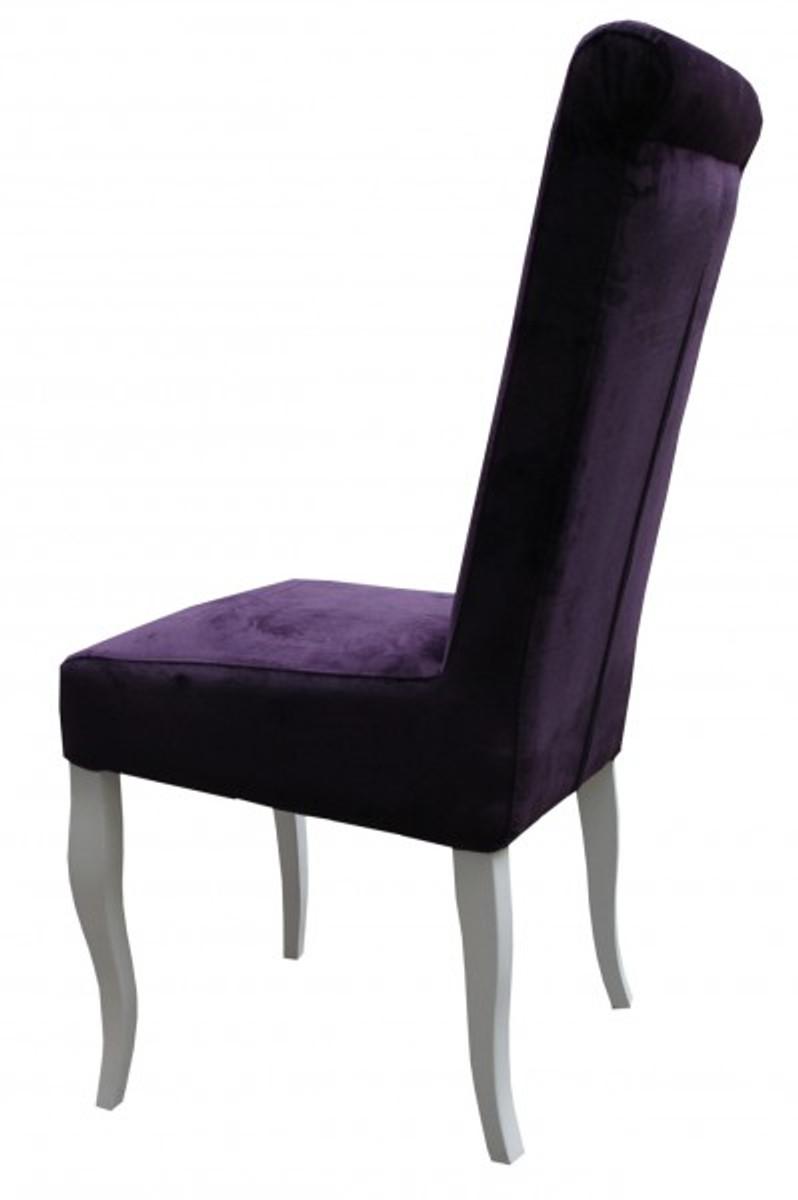 Casa Padrino Esszimmer Stuhl Lila Weiß Ohne Armlehnen Barock