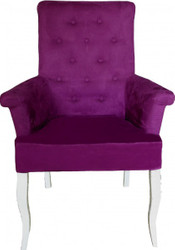 Casa Padrino Dinner Chair Purple / White Baroque Furnitur