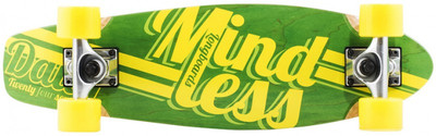 Mindless Stained Daily Oldschool Skateboard Wood Cruiser Green / Yellow - Old School Complete Skateboard – Bild 1