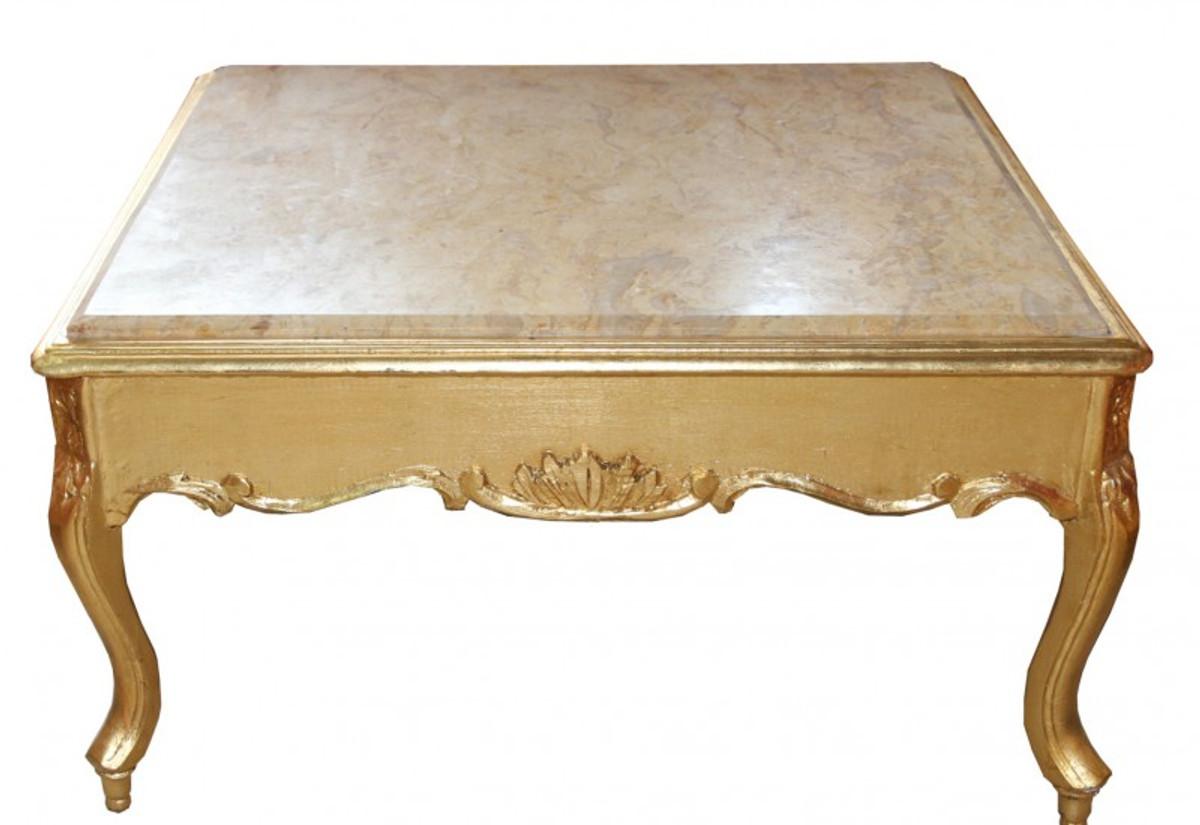 casa padrino barock couchtisch gold mit marmorplatte 80 x 80 cm antik stil couchtische barock. Black Bedroom Furniture Sets. Home Design Ideas