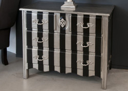 Casa Padrino Baroque Chest Silver / Black Stripe 94cm - antique style furniture