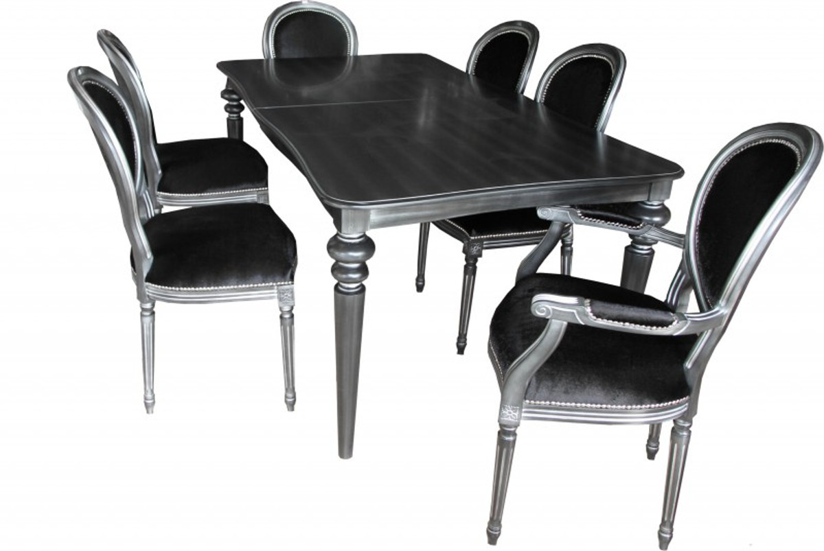 Picture of: Casa Padrino Design Dining Room Set Black Silver Extendable Dining Table 6 Chairs
