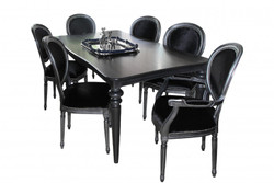 Casa Padrino design dining room set black / silver - Extendable dining table + 6 chairs
