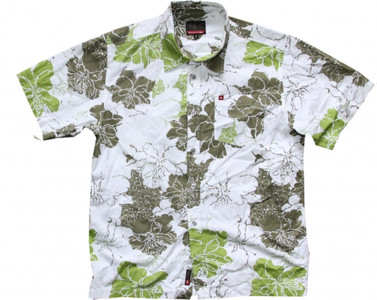 Quiksilver Skateboard Hemd White/Green Flowers- Hawaii Hemd