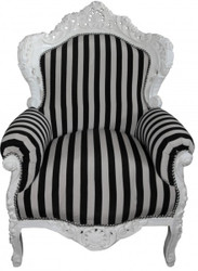 "Baroque Armchair ""King"" Black / White Stripes / White"