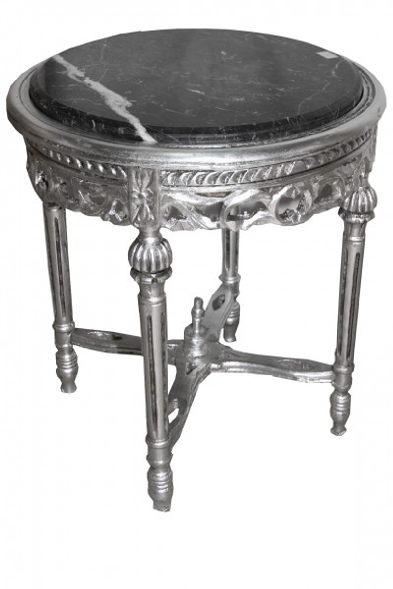 Baroque Side Table Silver Round Mody14 53 X 47cm Antique