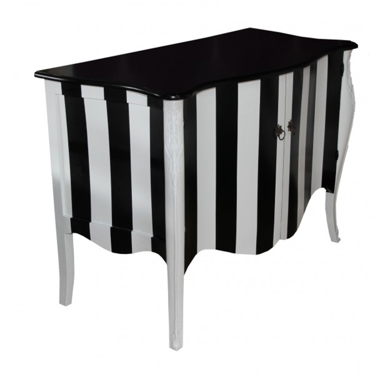 Kommode schwarz weiß  Casa Padrino Barock Kommode Schwarz/Weiß Streifen 120cm Mod ...