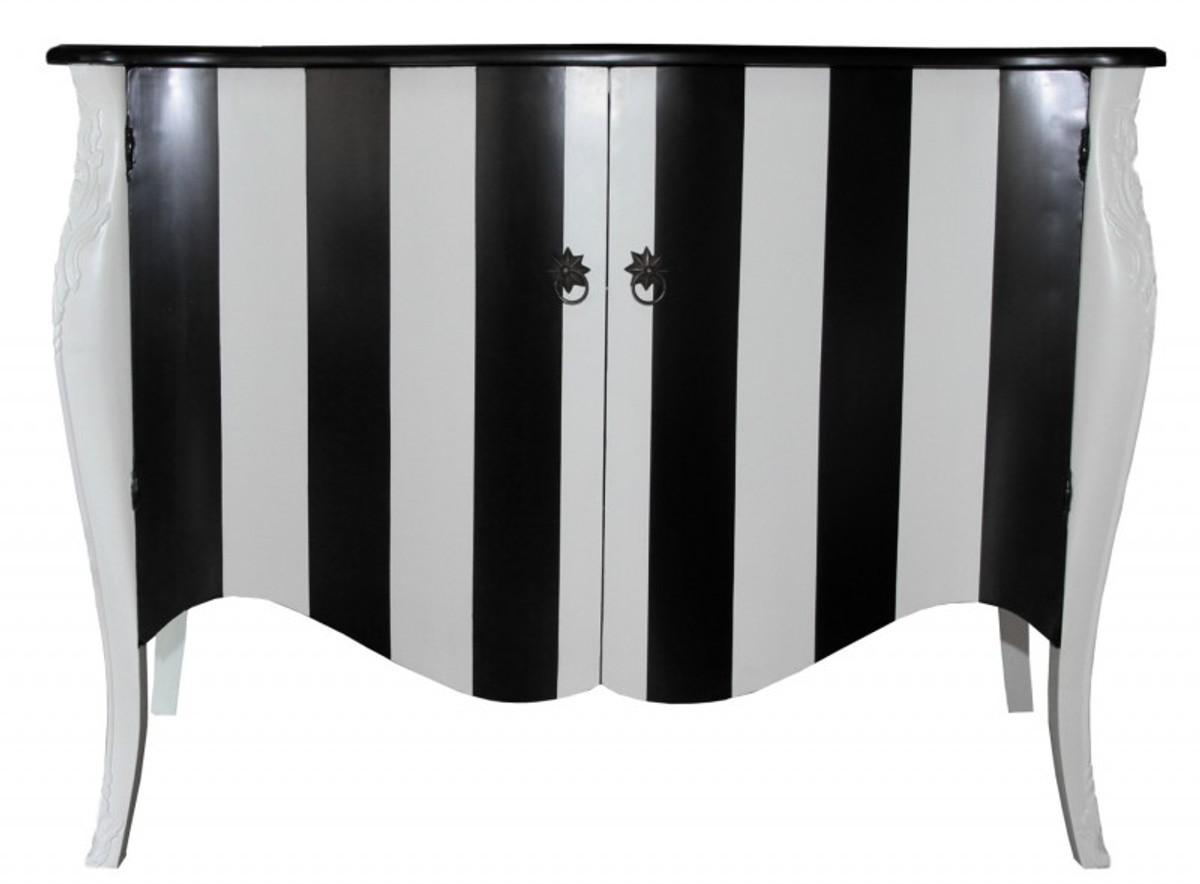 Kommode schwarz weiß  Casa Padrino Barock Kommode Schwarz/Weiß Streifen 120cm Mod - Antik ...