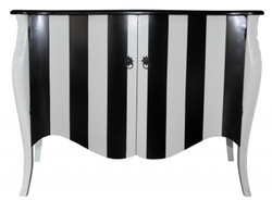 Casa Padrino Baroque Chest Black / White Stripe 120cm Mod - antique style furniture