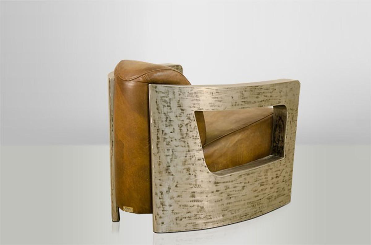 Art Deco Echt Leder Sessel Mars Echt Leder Beige Vintage Silber