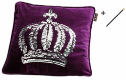 Harald Glööckler designer throw pillow 50 x 50 cm crown with sequins purple / silver + Casa Padrino Luxury Baroque Pencil with Crown Design