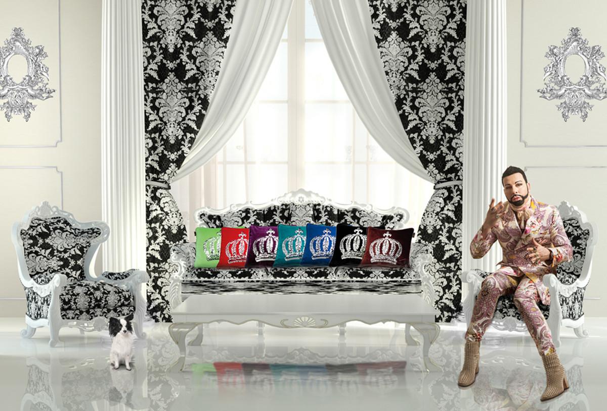 harald gl ckler designer zierkissen 50 x 50 cm krone mit pailletten royalblau silber casa. Black Bedroom Furniture Sets. Home Design Ideas