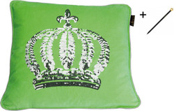 Harald Glööckler designer throw pillow 50 x 50 cm crown with sequins Green / Silver + Casa Padrino Luxury Baroque Pencil with Crown Design