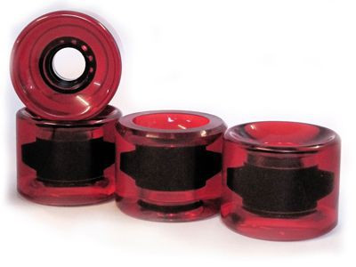 Blank Longboard Cruiser Wheels Clear / Red 65mm / 78a (4 castors) - Skateboard Cruiser Wheel Set