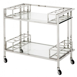 Casa Padrino Luxury Bar Trolley Trolley made ​​of stainless steel and glass 80 x 48 x H. 77 cm - Luxury Hotel & Restaurant Furniture