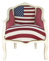 Casa Padrino Barock Damen Salon Sessel USA Design / Creme  - Möbel Antik Stil- USA Flagge