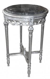 Barock Beistelltisch Rund Silber/Grau Marmorplatte  ModY21  72 x 49 cm Antik Stil – Bild