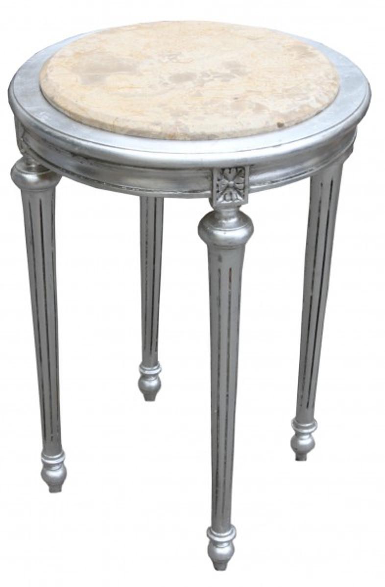 Barock beistelltisch rund silber creme marmorplatte mody22 for Beistelltisch marmorplatte