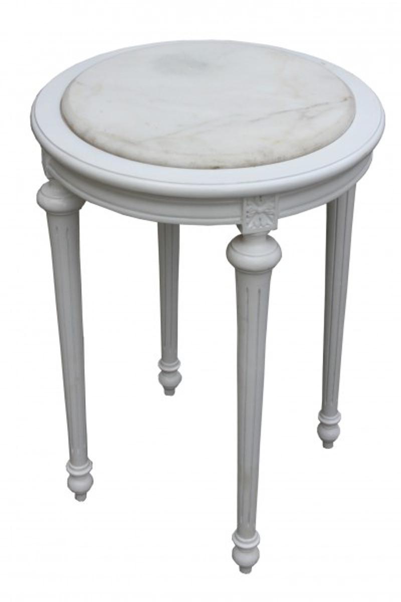 Barock beistelltisch rund wei wei marmorplatte mody24 72 for Marmorplatte rund