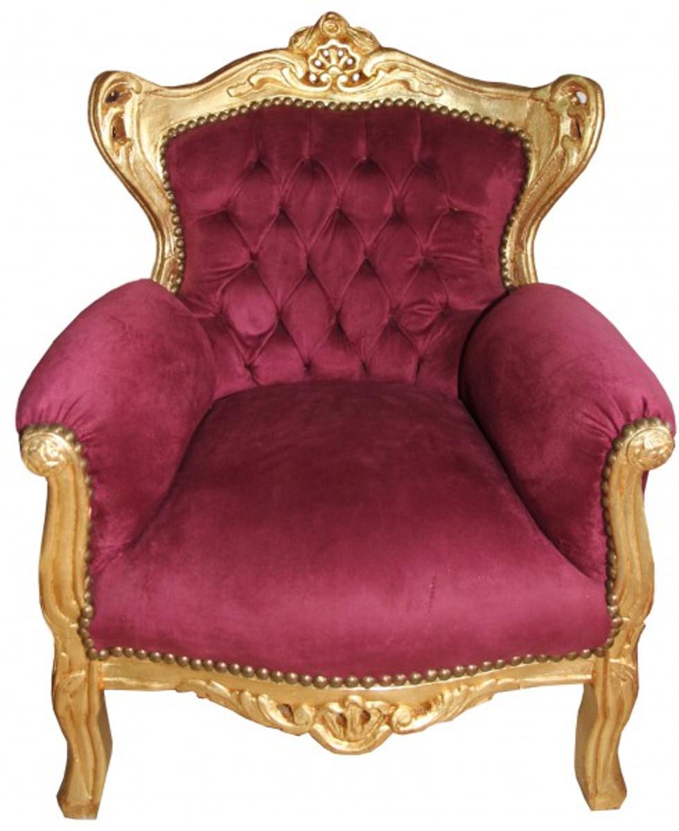 Casa Padrino Baroque Kids Armchair Bordeaux / Gold Baroque Furniture